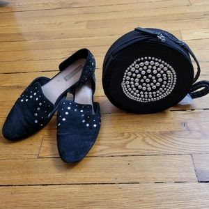 H&M Black Silver Detailed Flats and Round Bag